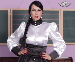 governess satin blouse