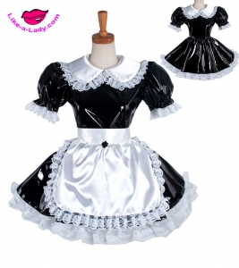 sexy naughty PVC sissy french maid dress