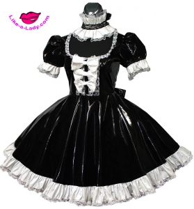 PVC sissy and french maid dress with bows